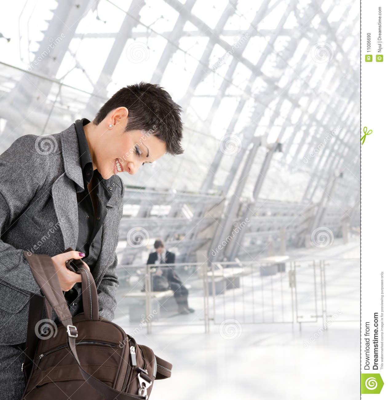 Businesswoman with laptop bag