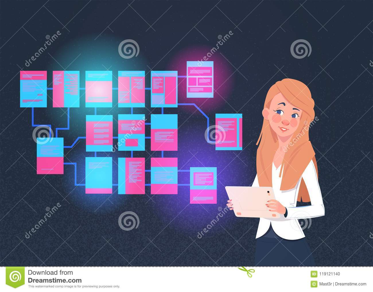 Businesswoman with laptop over site map suitable for info graphics, websites and print media and interfaces on dark