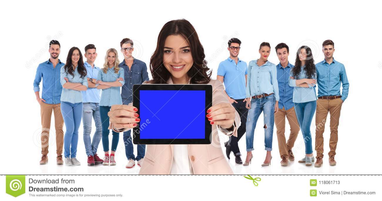 Businesswoman leader of group showing blank screen of tablet