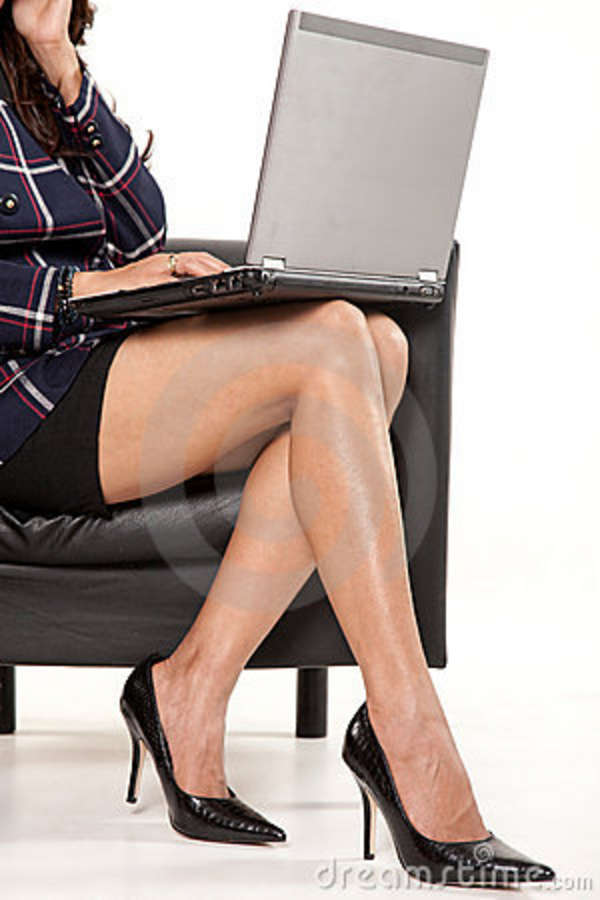 Businesswoman Legs With Laptop Stock Photo Image Of