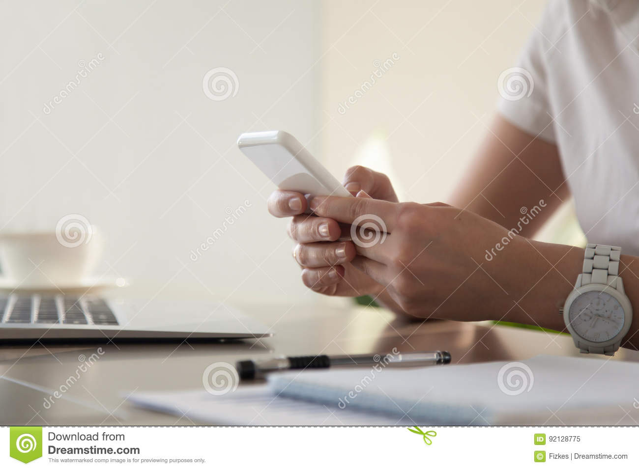 Businesswoman looking important contact on phone