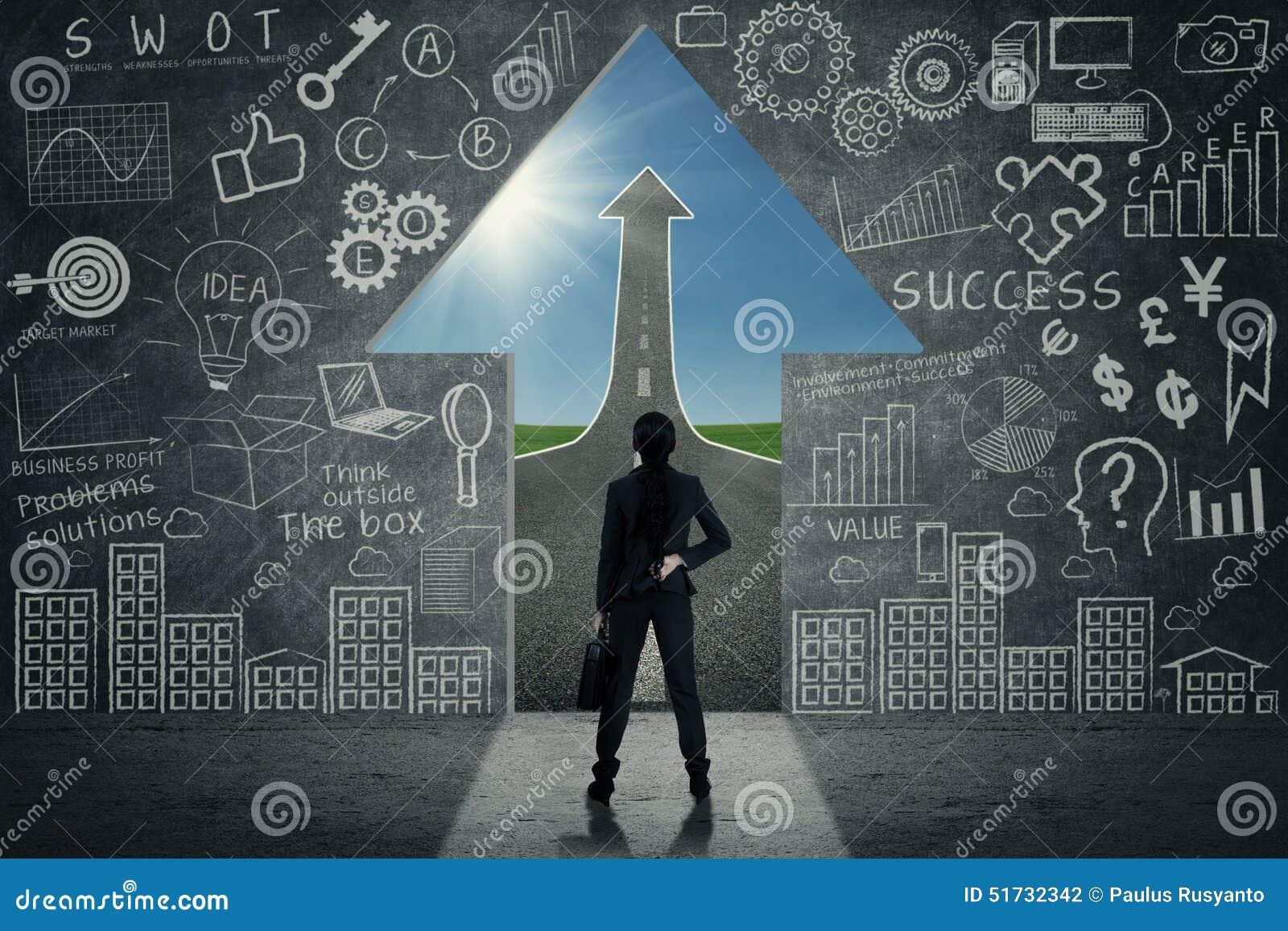 arrow businesswoman door ... & Businesswoman Looking At Open Door Stock Illustration - Image ... Pezcame.Com