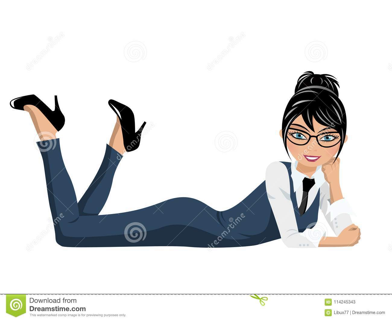 Businesswoman lying in confident and relaxed pose isolated