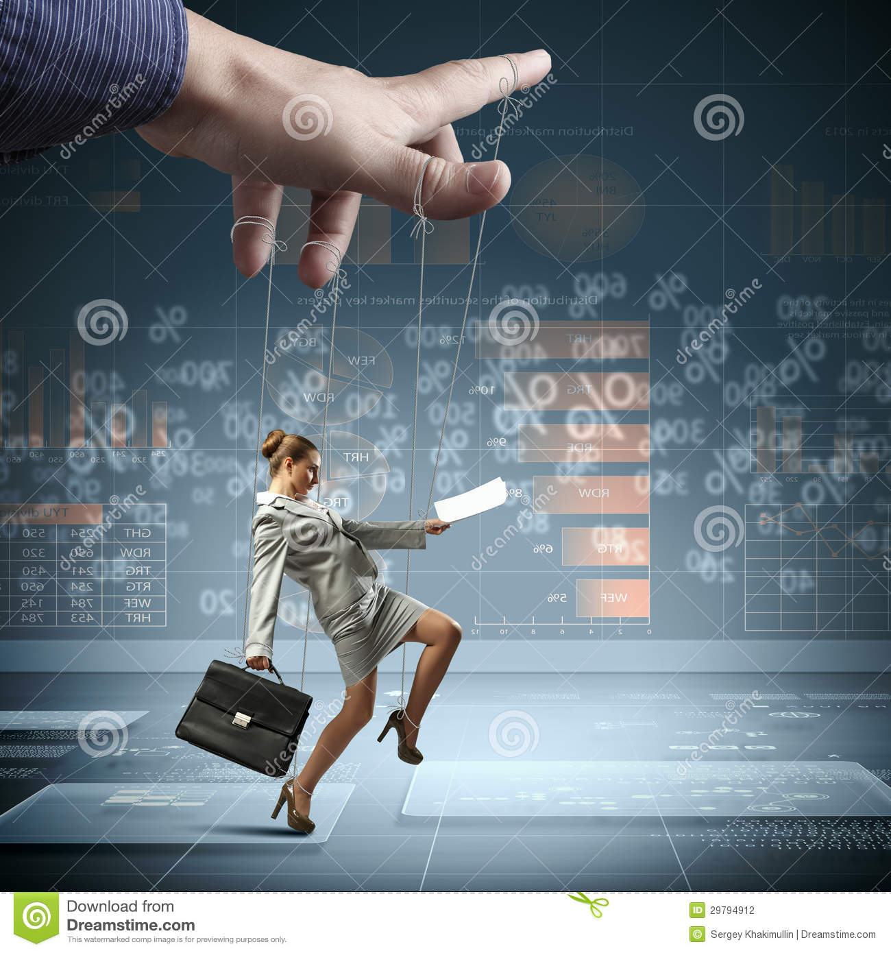 Business Woman Marionette Stock Photo  Image Of Employee