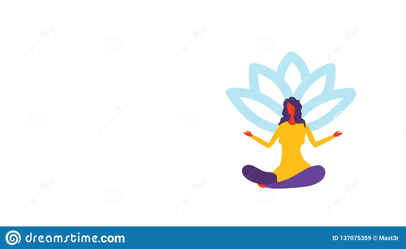 Businesswoman Meditating Sitting Lotus Position Girl In Yoga Pose Female Cartoon Character Full Length Horizontal Stock Vector Illustration Of Business Concentration 137075359