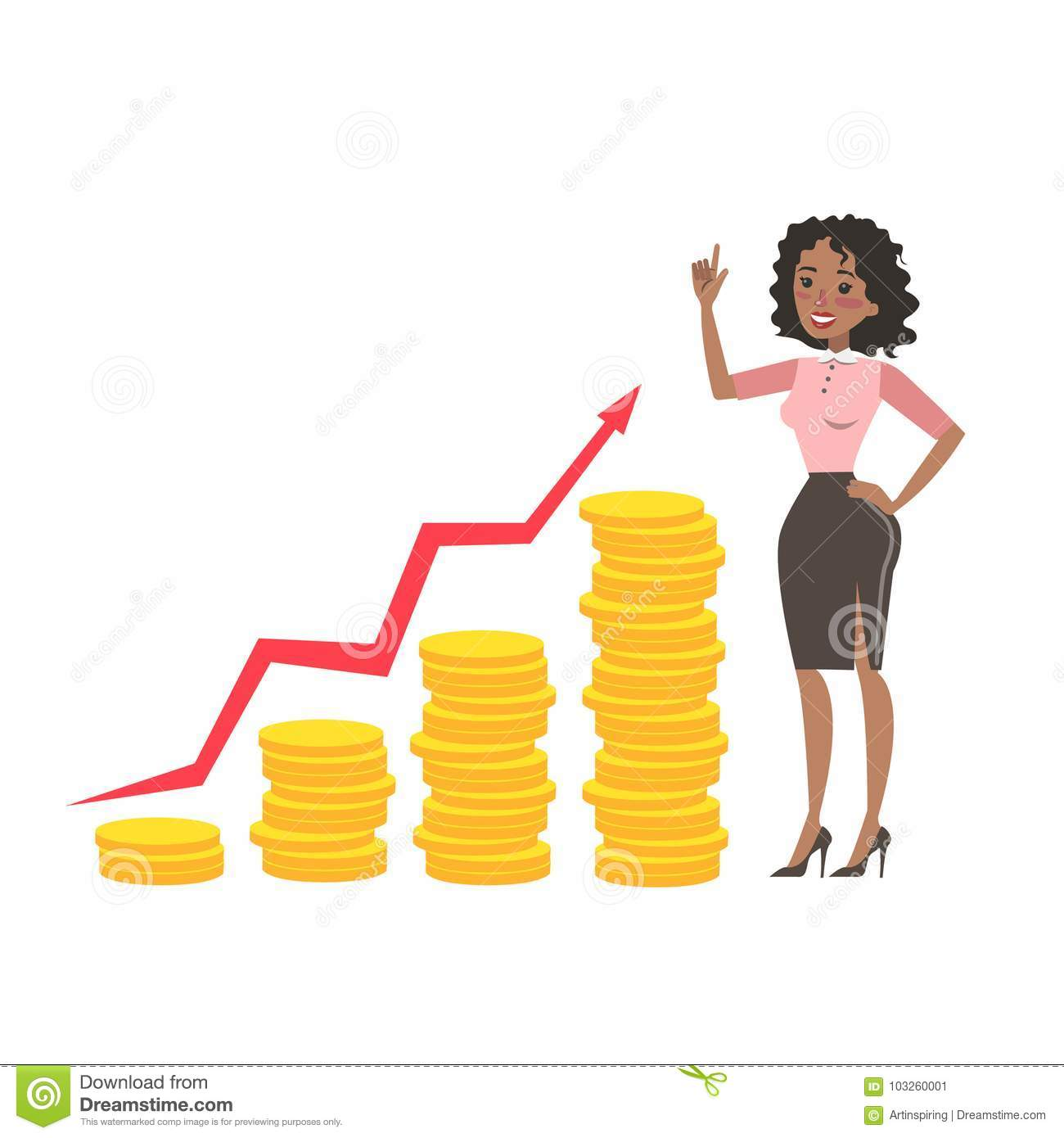 Businesswoman With Money Growth Stock Vector Illustration Of