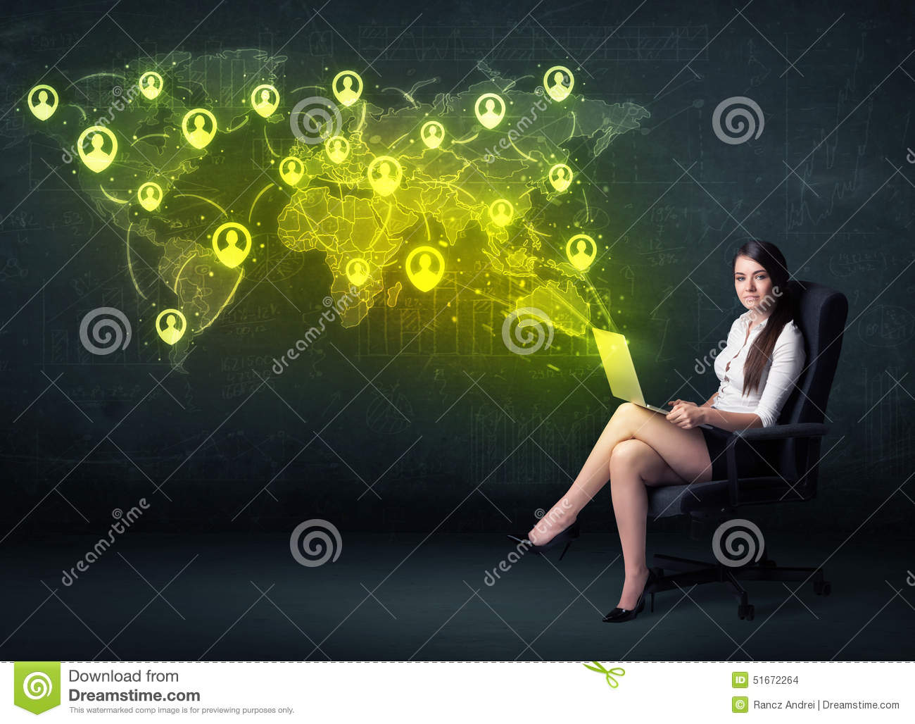 Businesswoman in office with laptop and social network world map