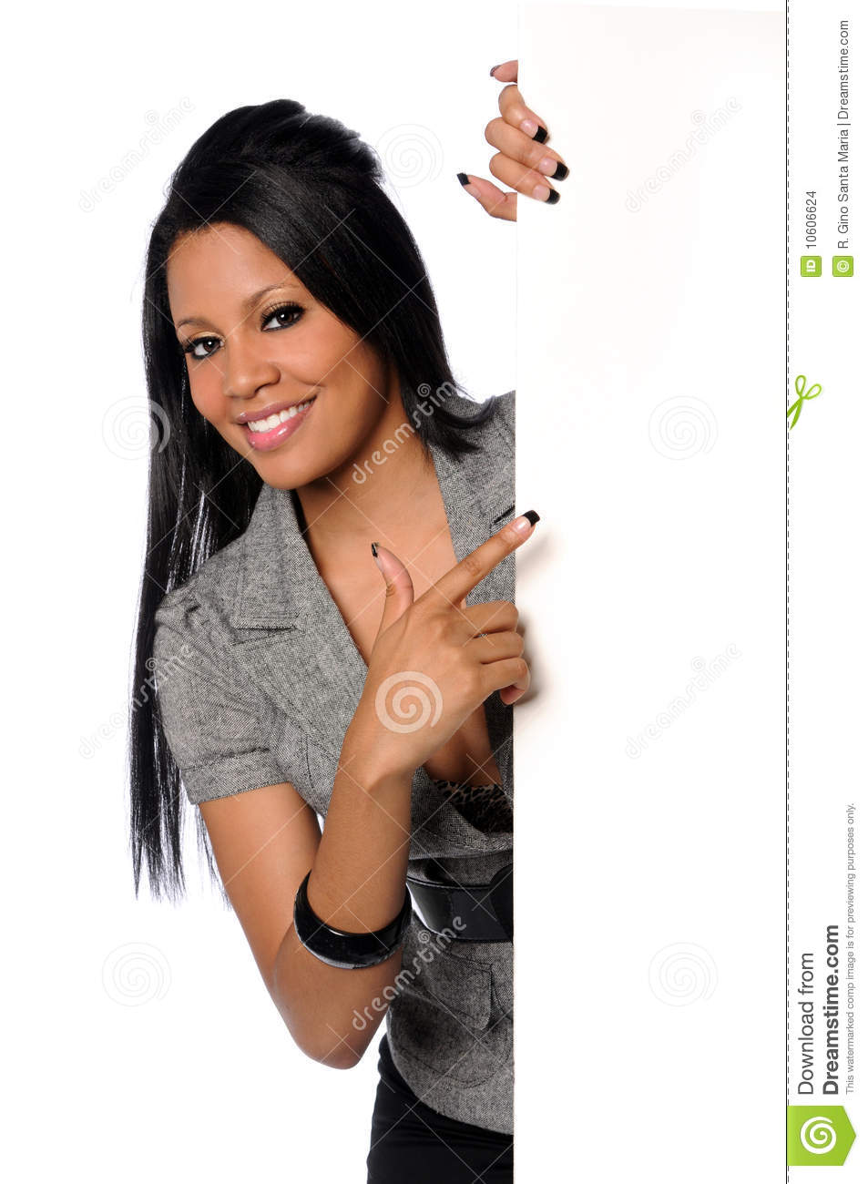 Businesswoman Pointing to Blank Sign