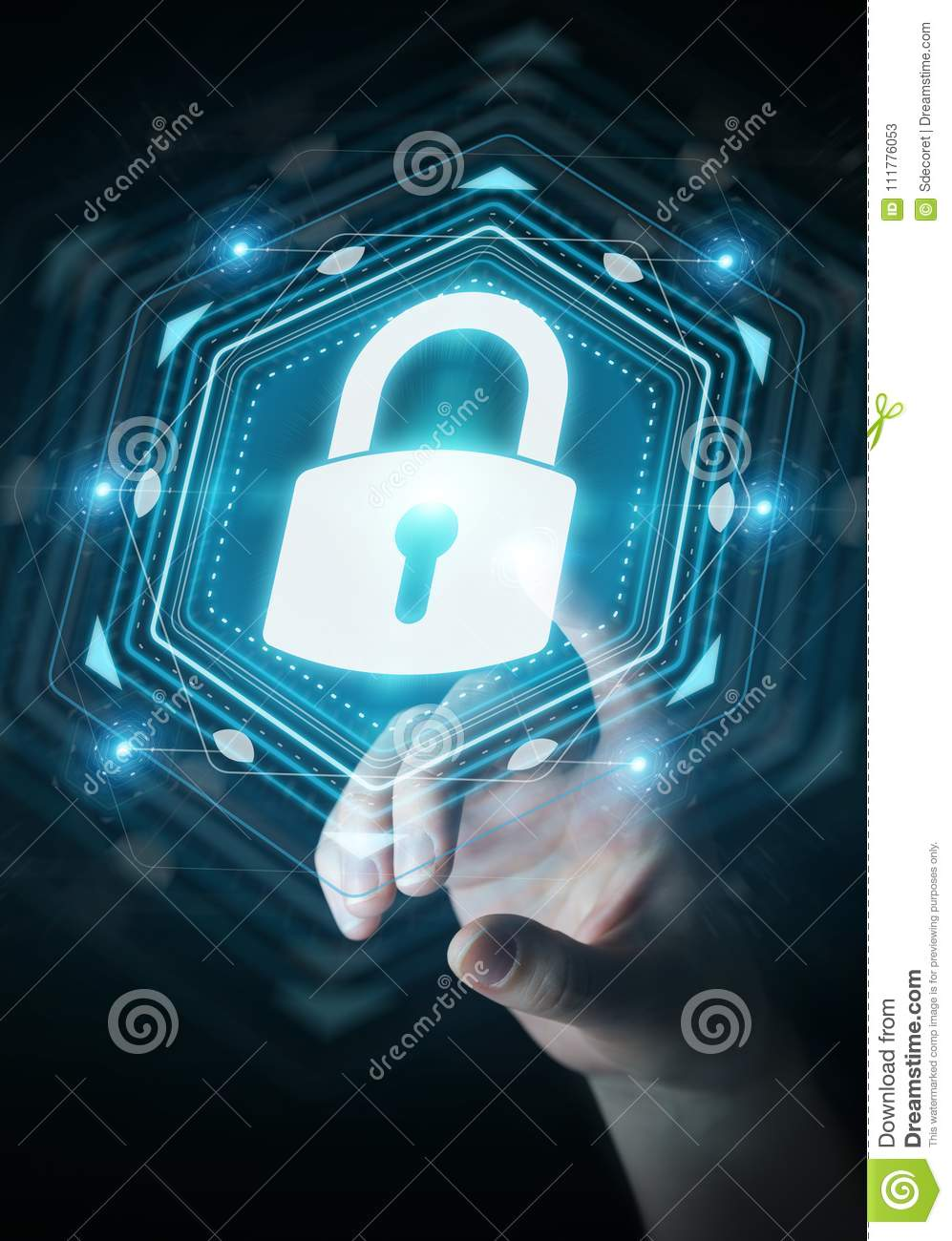 Businesswoman protecting her datas with security interface 3D re