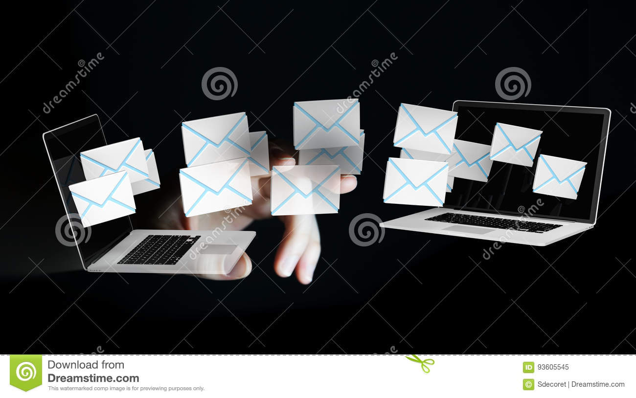 Businesswoman receiving e-mails on her digital devices 3D render