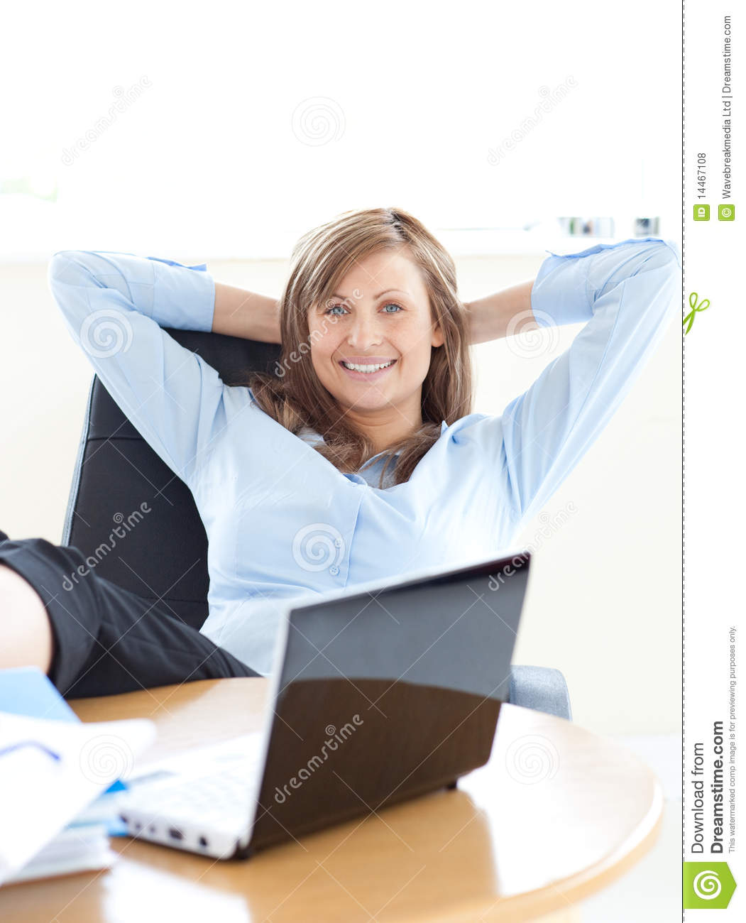 Businesswoman Relaxing In The Office Royalty Free Stock