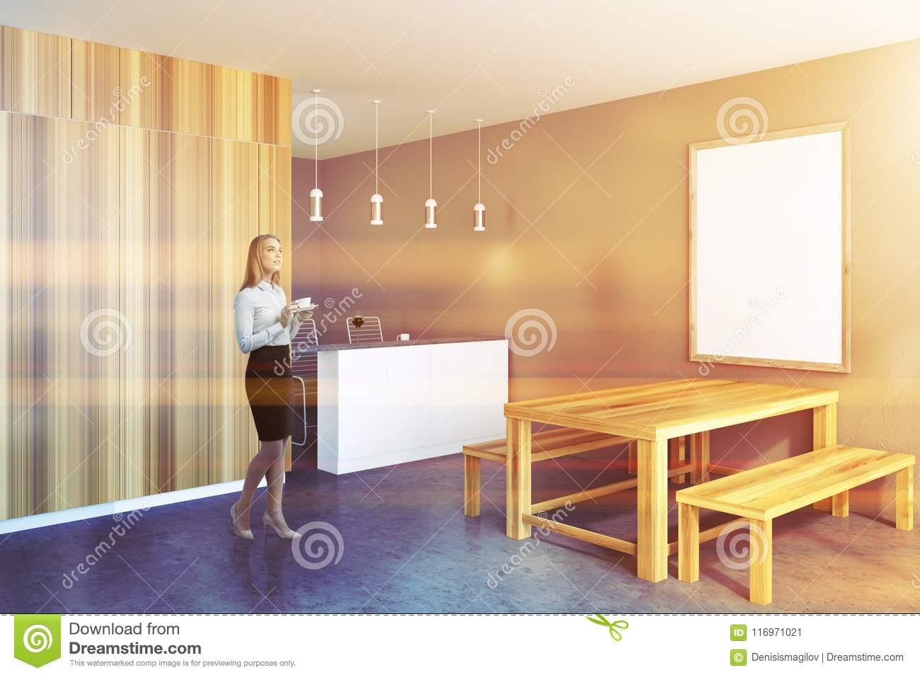 Businesswoman in a rustic kitchen, frame poster
