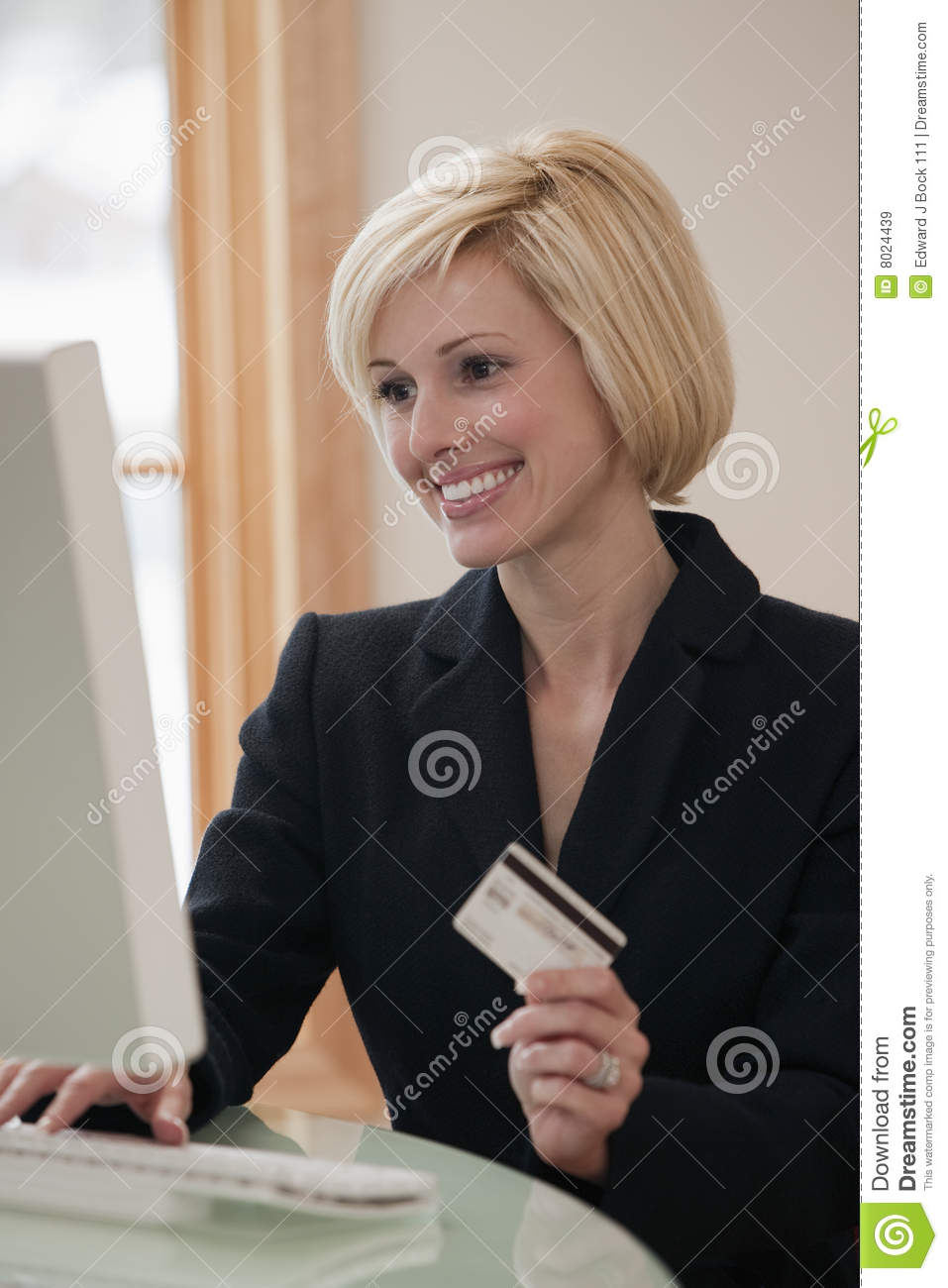 Businesswoman With Shopping Bag And Cash Card Stock
