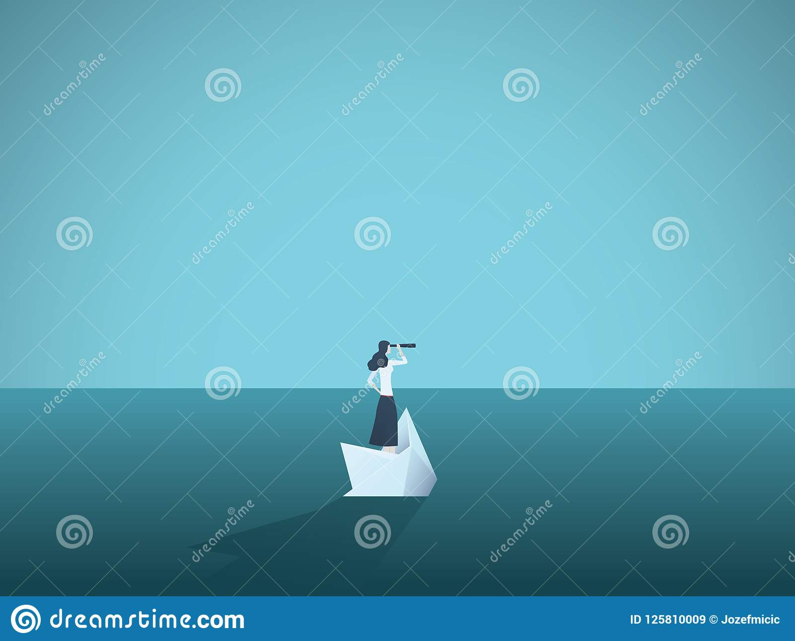 Businesswoman on a sinking ship, paper boat. Symbol of bankruptcy, failure but also new beginning, overcoming challenge.