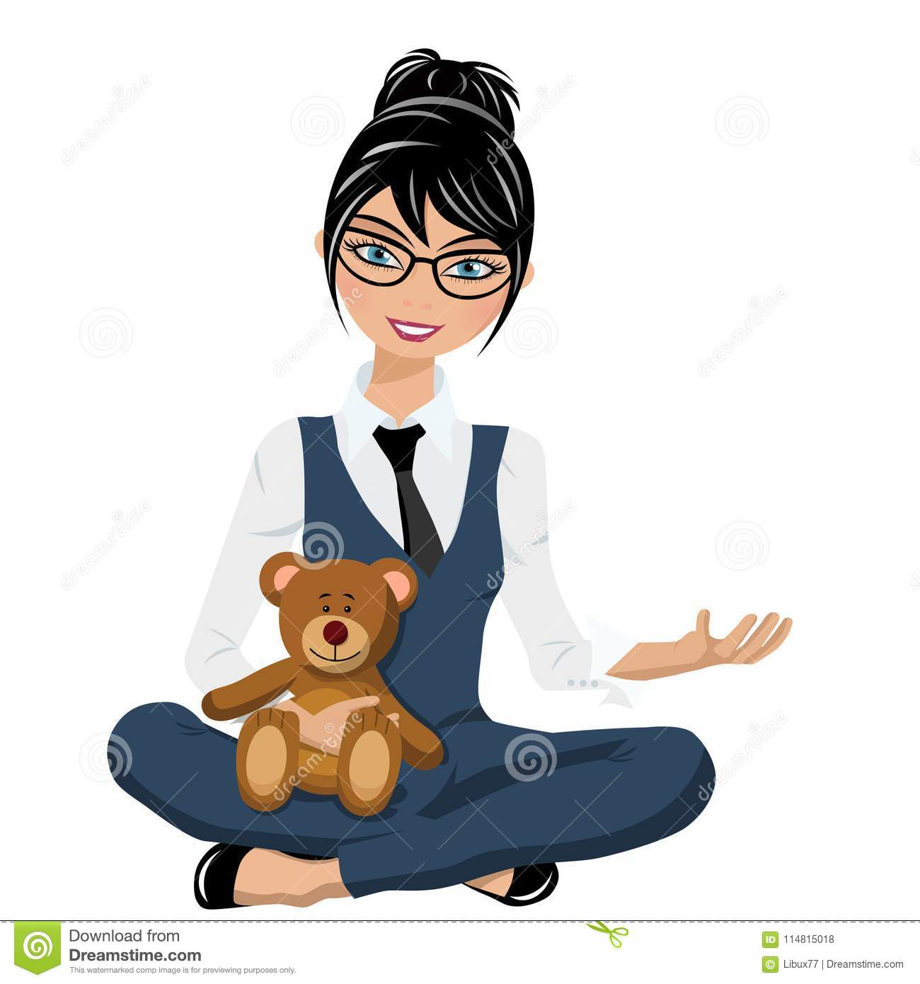 Businesswoman sit crossed arms and legs holding teddy bear isolated