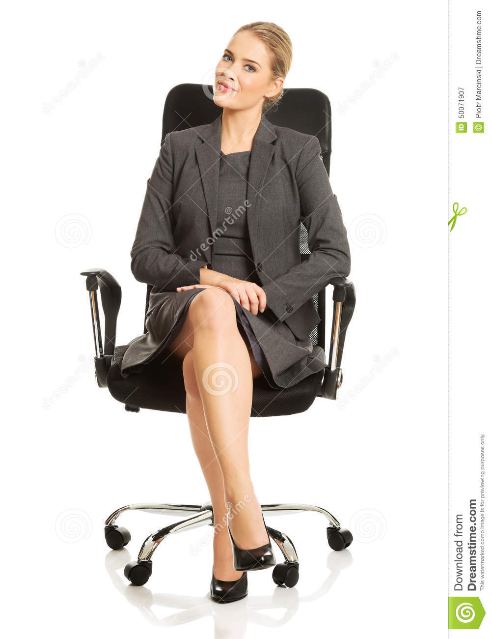 Businesswoman sitting on armchair for Sitting in armchair