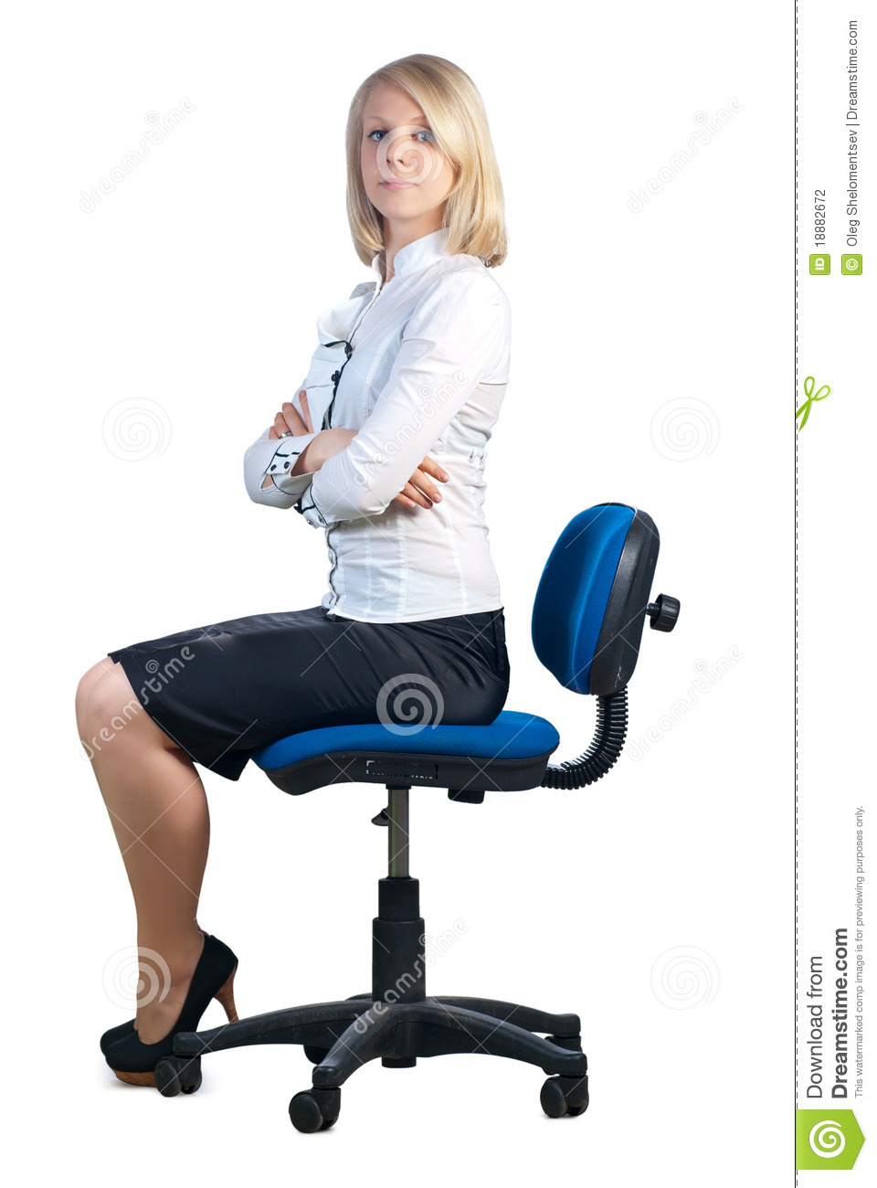 ... businesswoman sitting in office chair. Isolated on white background