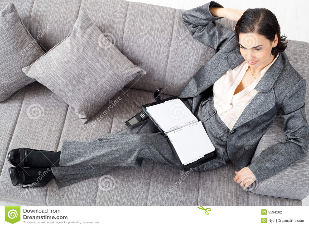 Businesswoman sofa