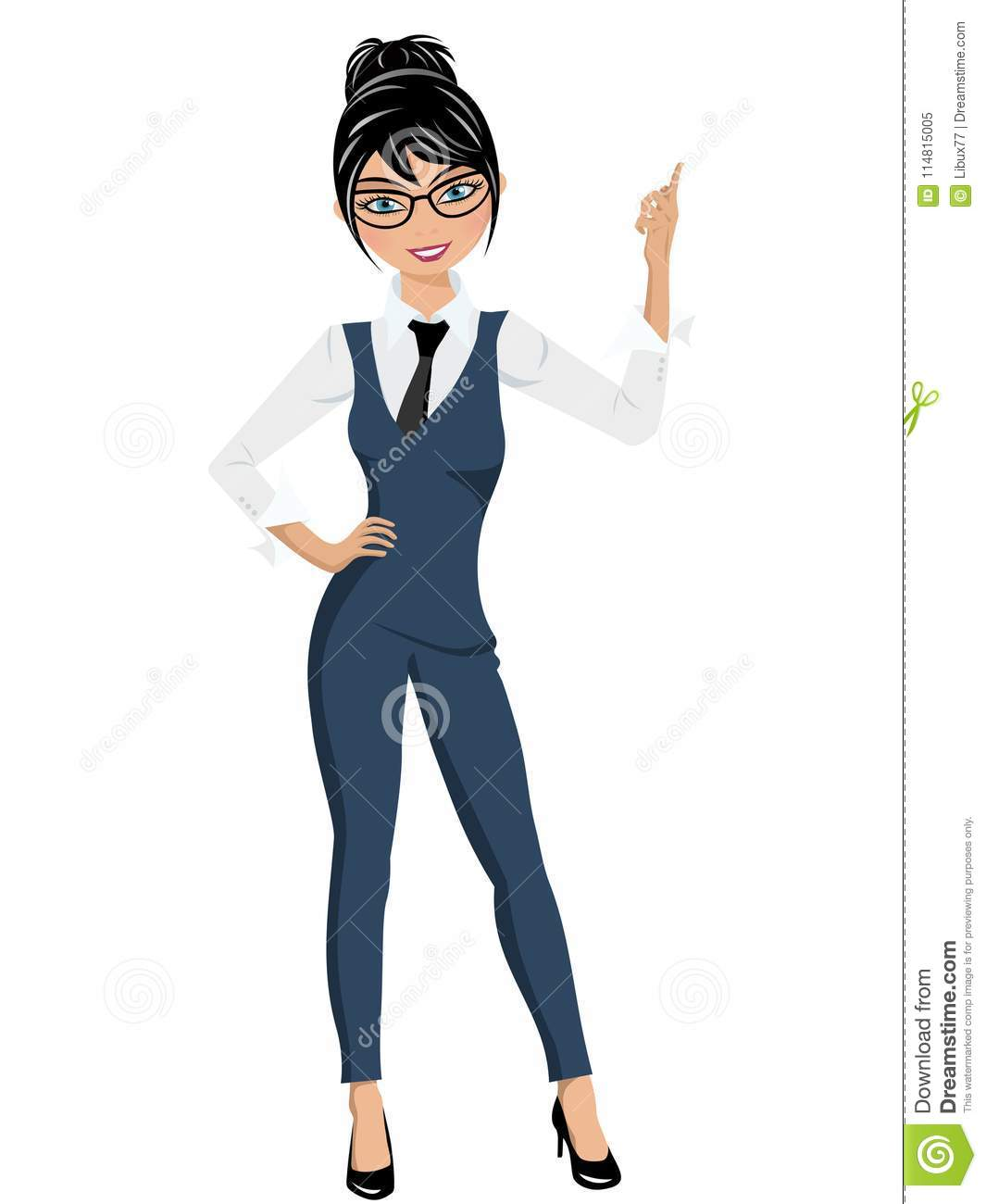 Businesswoman standing finger up pose presenting or indicating isolated
