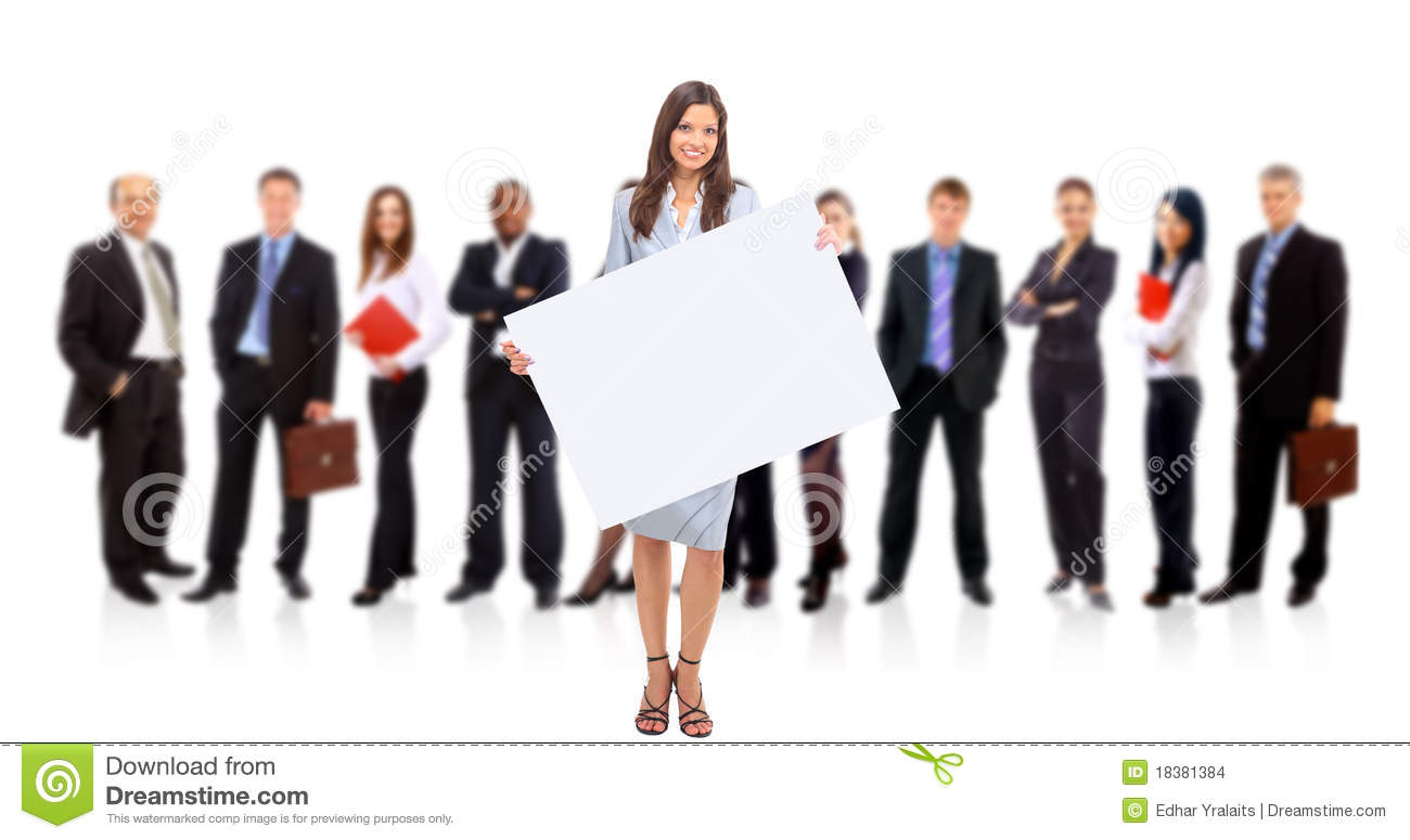 Businesswoman standing and holding