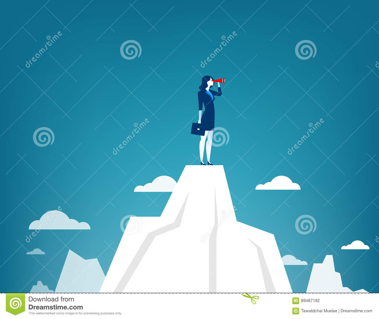 8e2d14b9714a Businesswoman Standing On Top Of The Mountain Using Telescope Stock ...