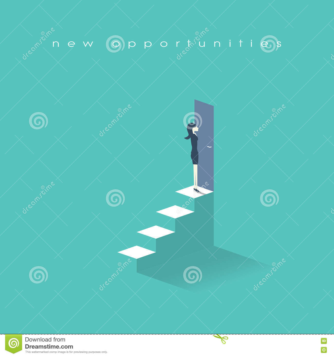 businessw standing in front of opportunity doors royalty businessw standing on top of stairs in front doors business symbol new opportunities and