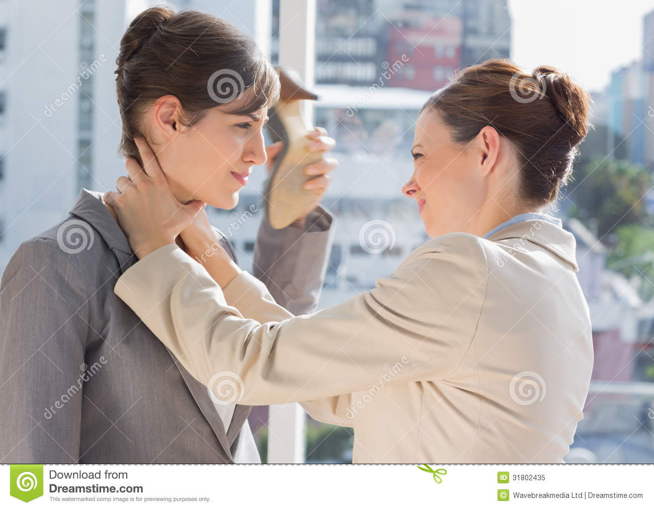 Strangling Her Businesswoman strangling her partner stock images ...
