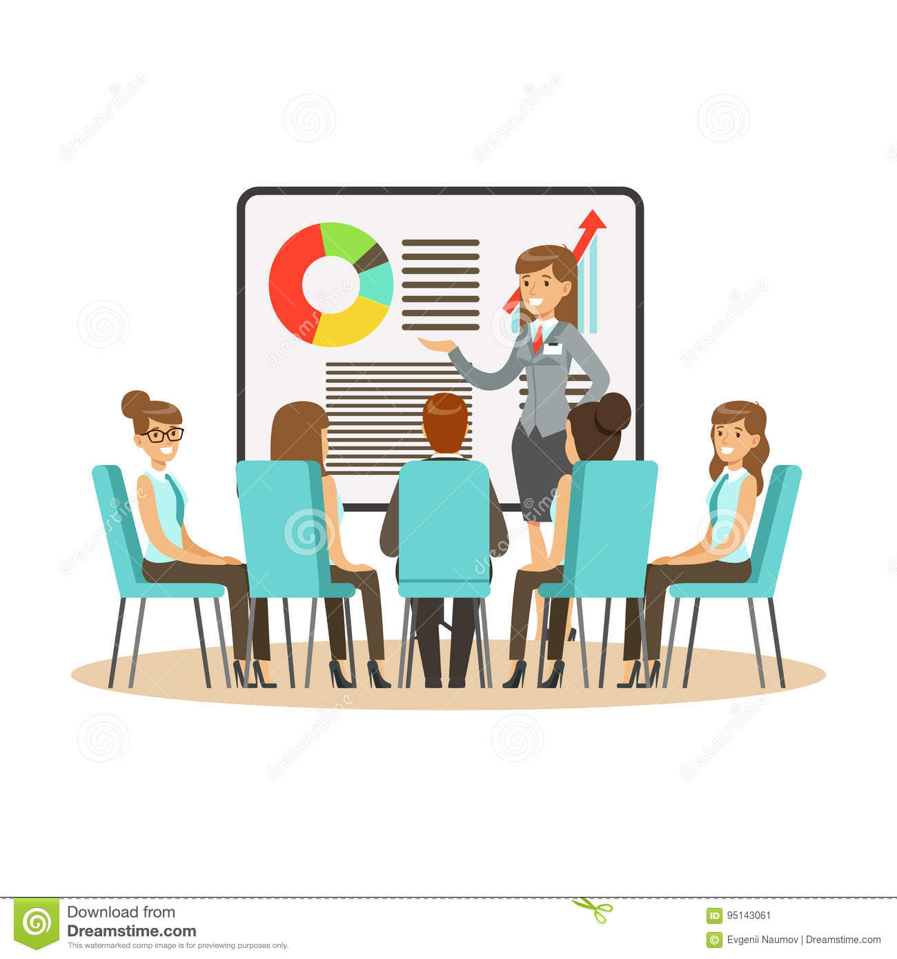 businesswoman in suit making presentation and explaining chart on a