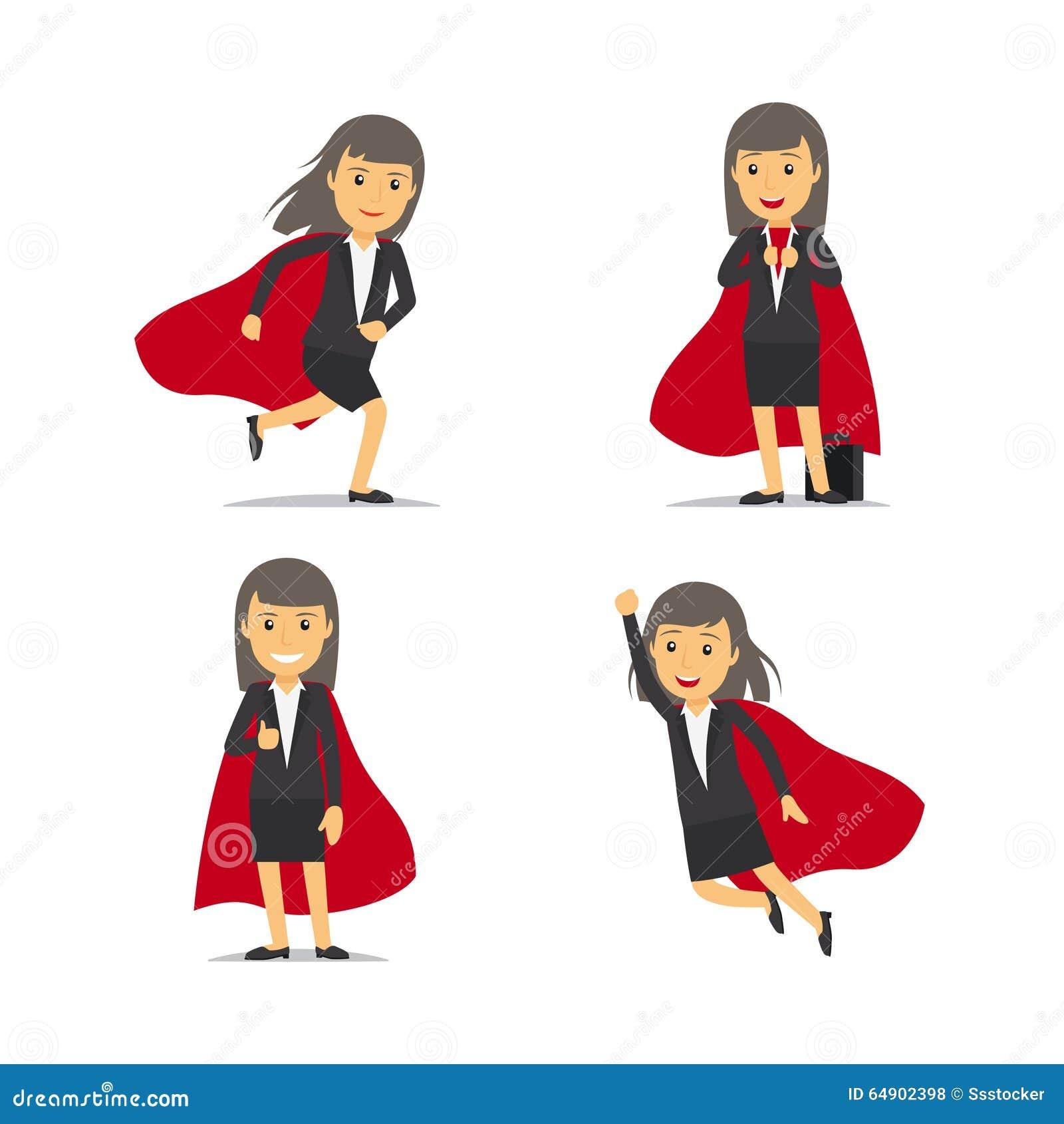 Businesswoman superhero, Super business woman, dressed in red cloak ...