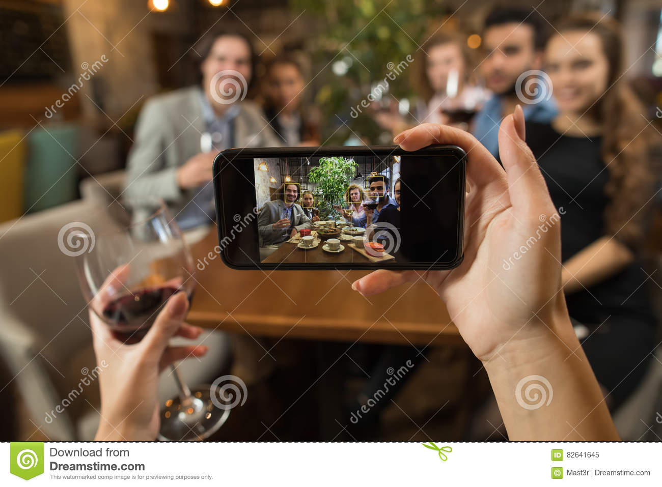 Businesswoman Taking Selfie Young Business People Group Drink Wine Sitting Restaurant Table, Friends Hold Glasses Clink