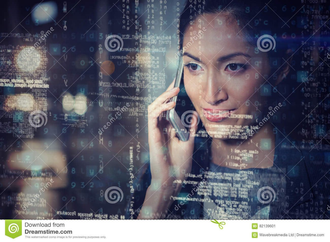 Businesswoman talking on mobile phone 3D