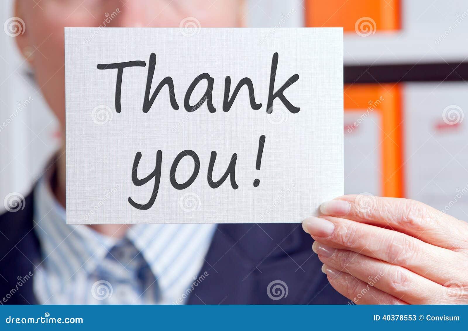 Businesswoman with a thank you sign stock image image of for Sofas de calidad a buen precio