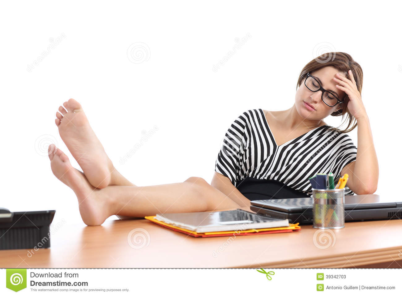 Businesswoman Tired In The Office Stock Image Image