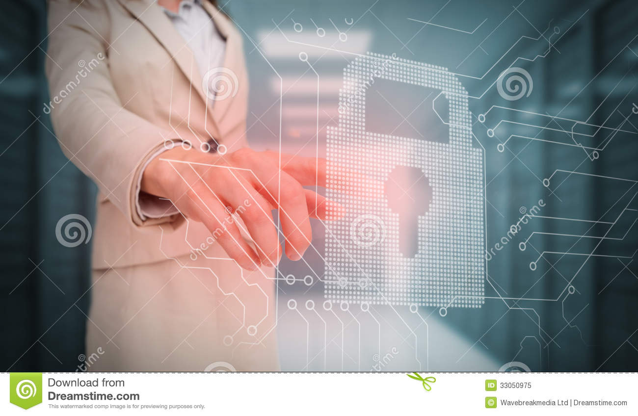 Businesswoman touching lock and circuit board graphic
