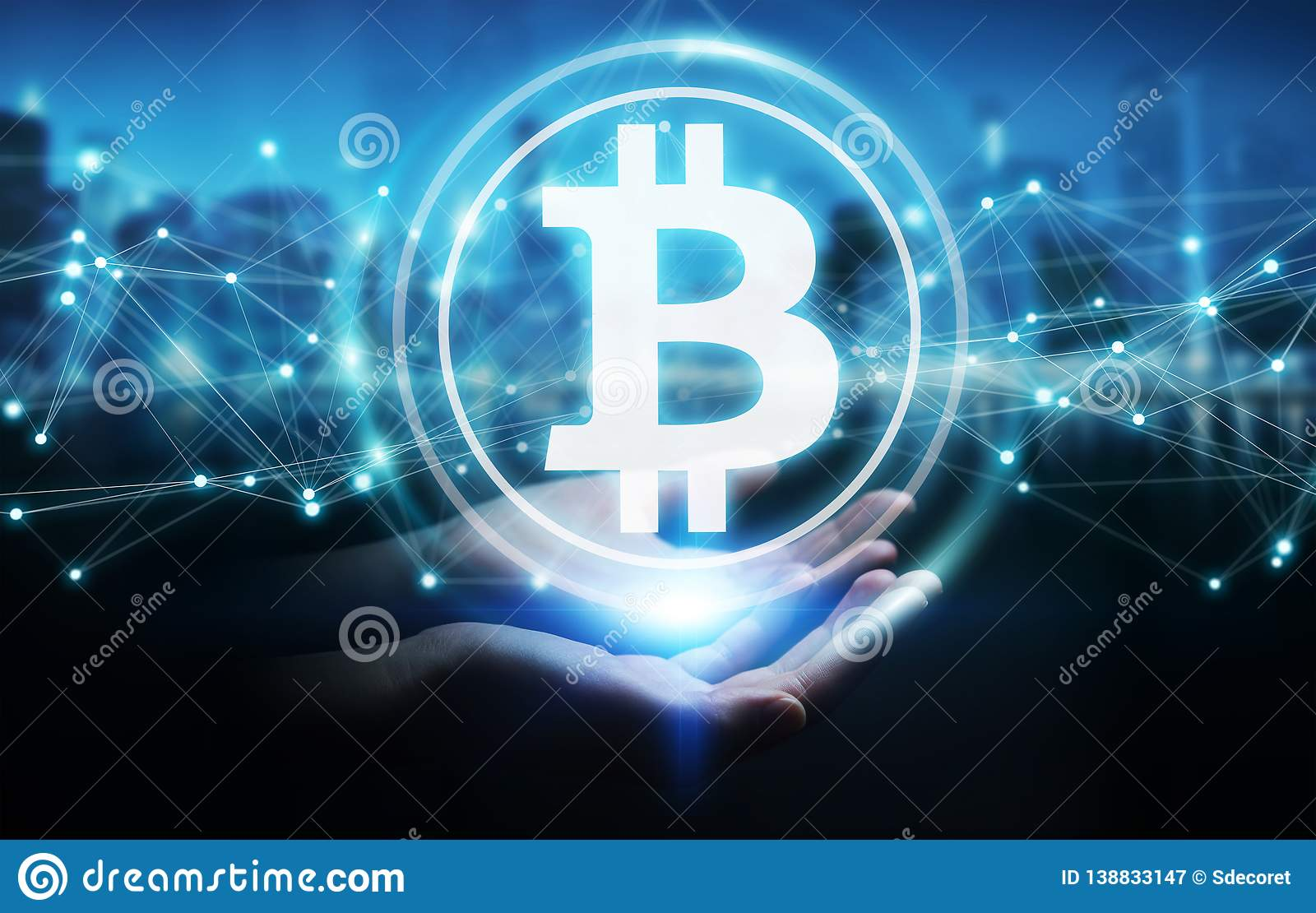 Businesswoman using bitcoins cryptocurrency 3D rendering