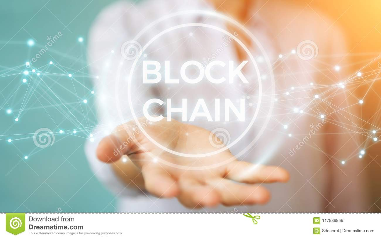 Businesswoman using blockchain cryptocurrency interface 3D rendering