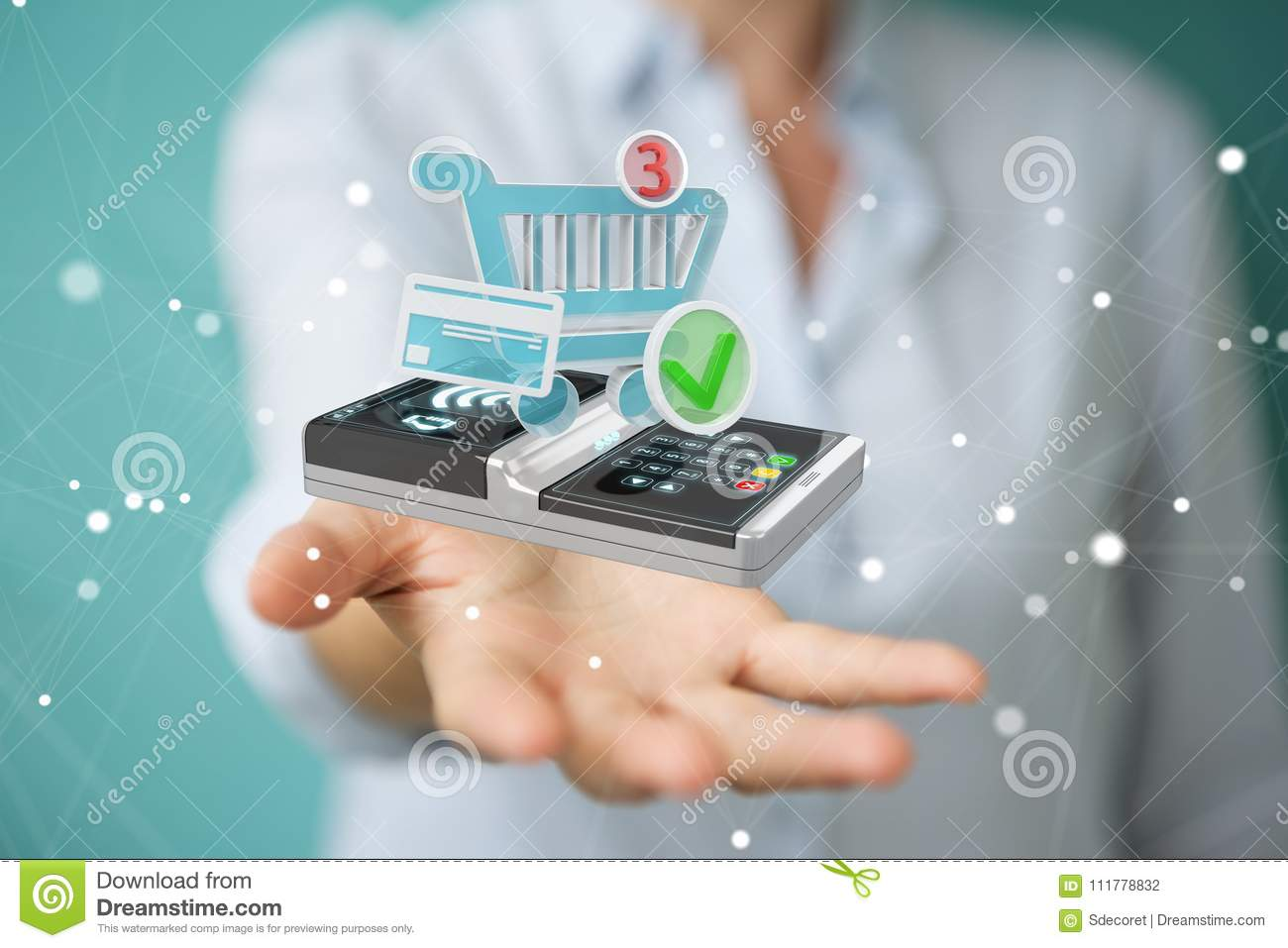 Businesswoman using contactless terminal payment 3D rendering