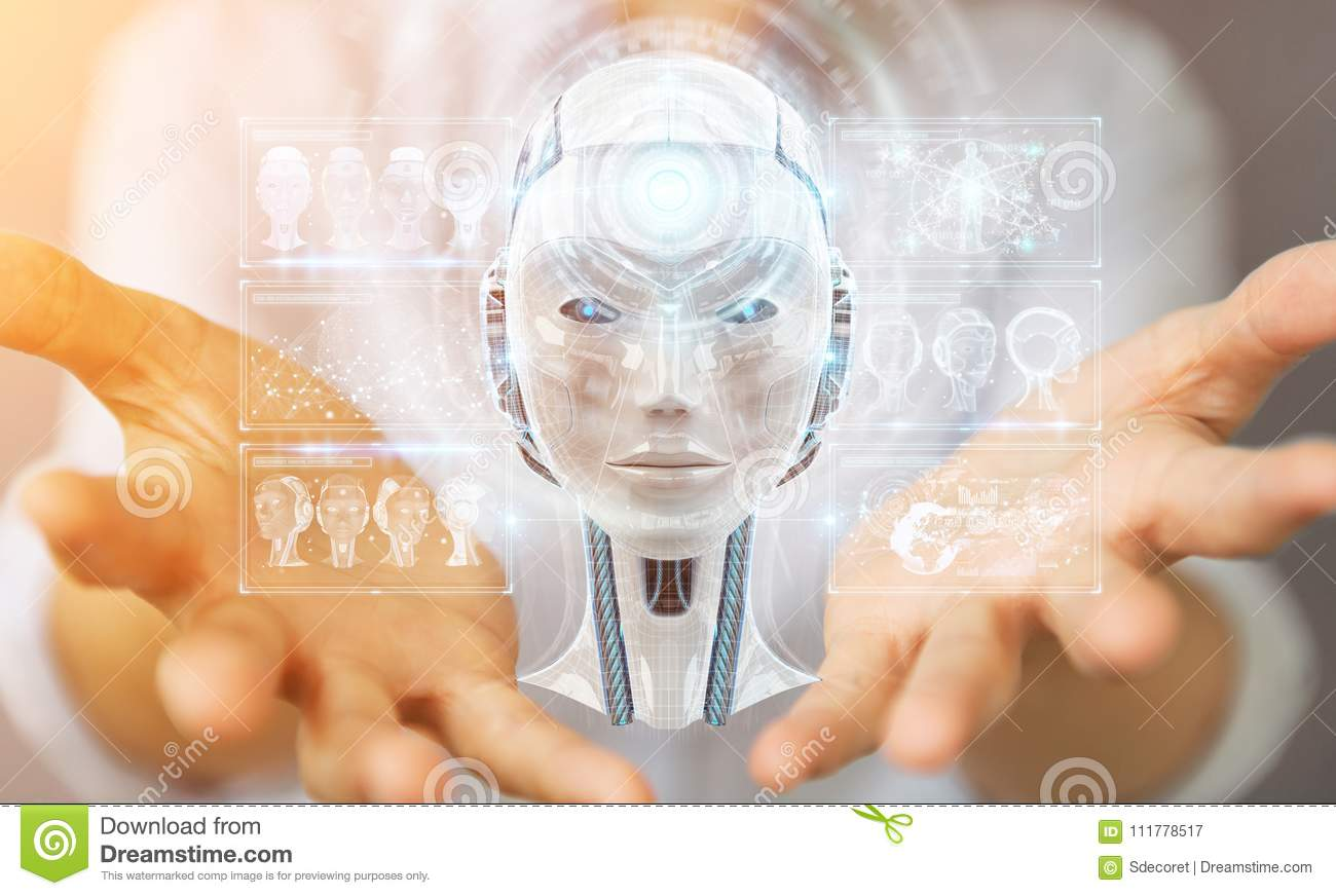 Businesswoman using digital artificial intelligence interface 3D rendering