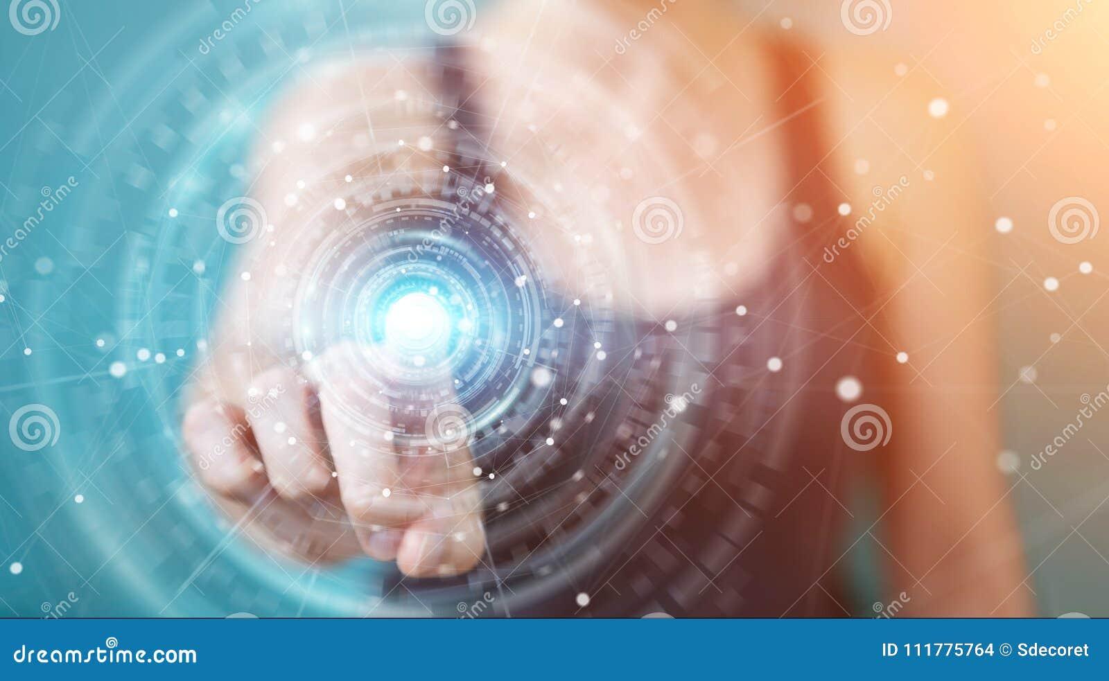 Businesswoman using digital network connection interface 3D rend