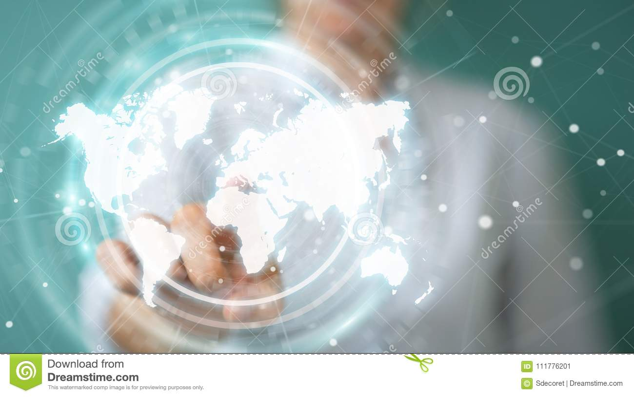 Businesswoman using digital world map interface 3D rendering