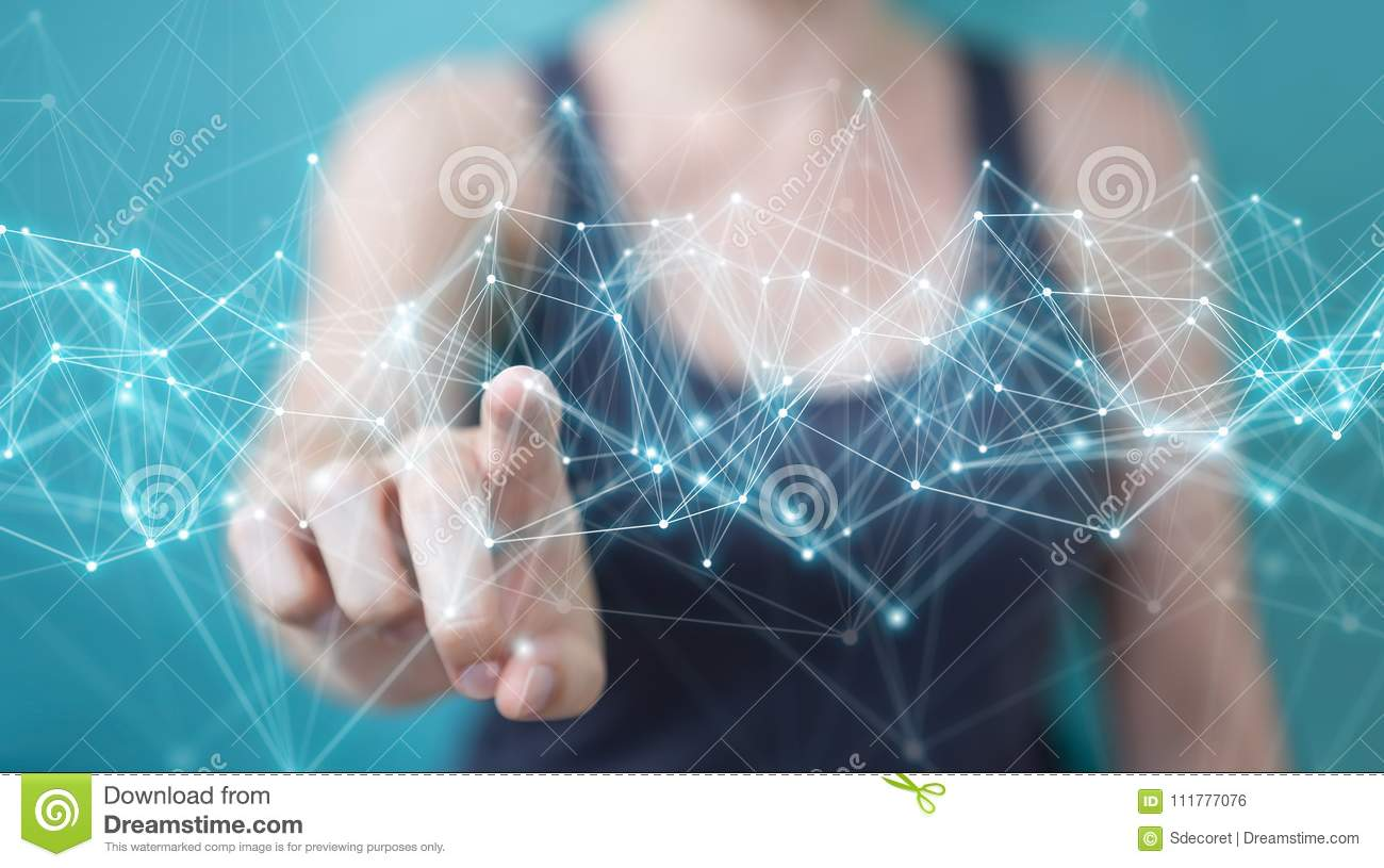 Businesswoman using flying network connection 3D rendering
