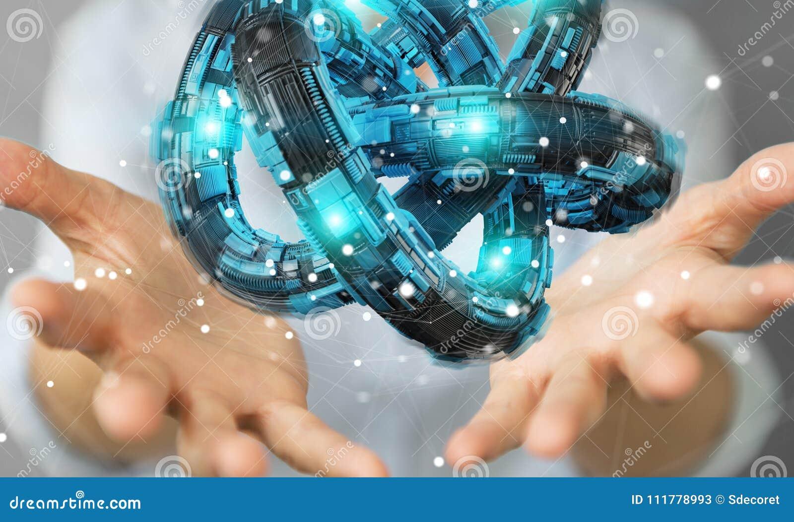 Businesswoman using futuristic torus textured object 3D rendering