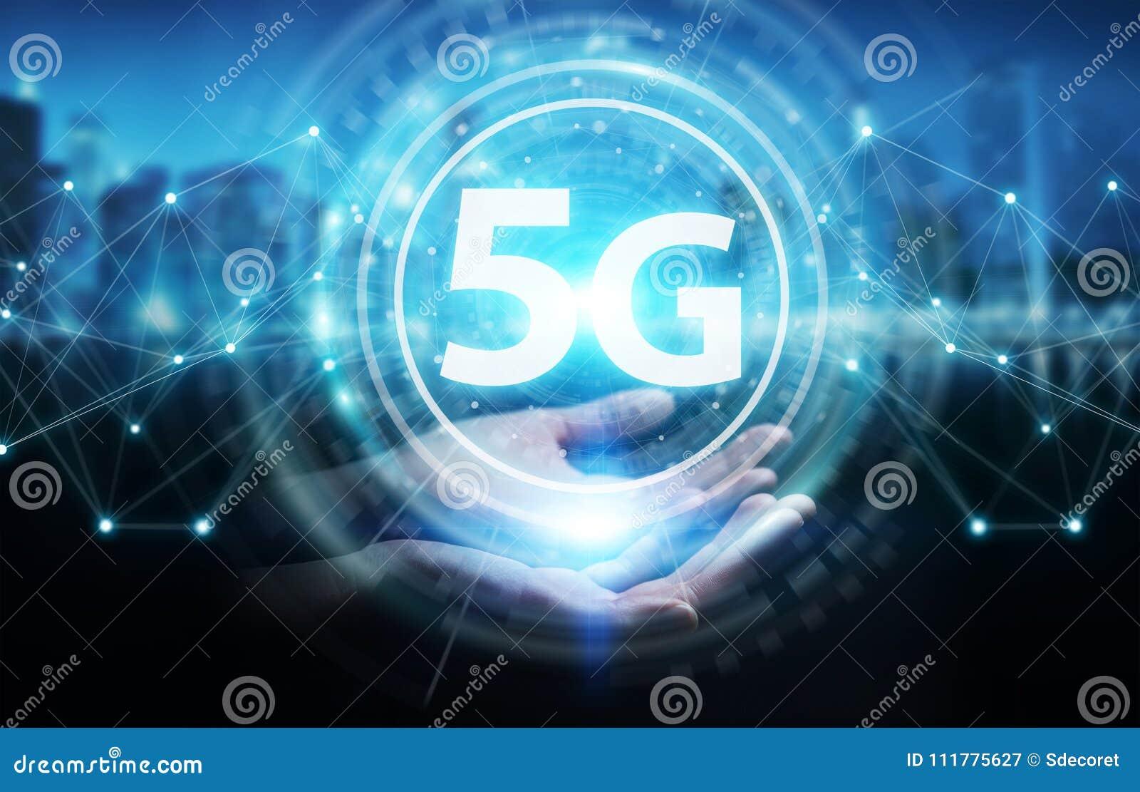 Businesswoman using 5G network interface 3D rendering