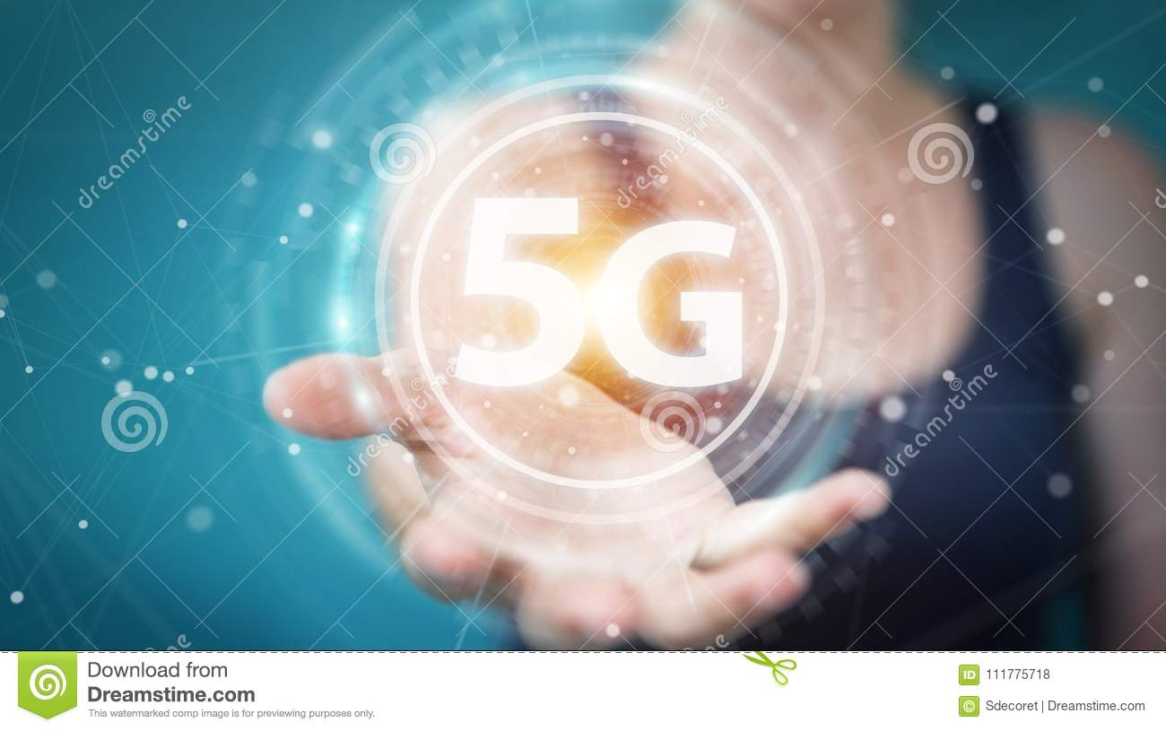 Businesswoman using 5G network interface 3D rendering