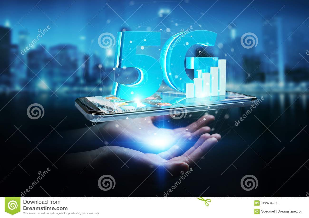 Businesswoman using 5G network with mobile phone 3D rendering