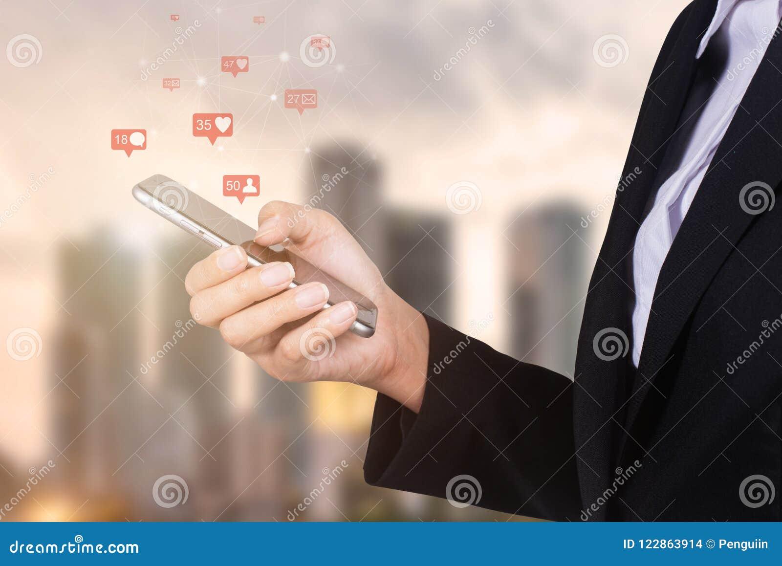 Businesswoman using mobile smart phone, Social, media, Marketing