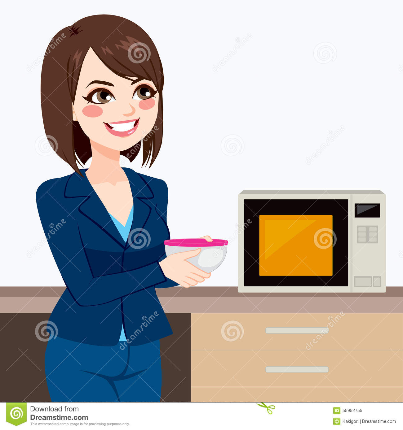 Office Kitchen Businesswoman Using Office Kitchen Microwave Stock Vector Image