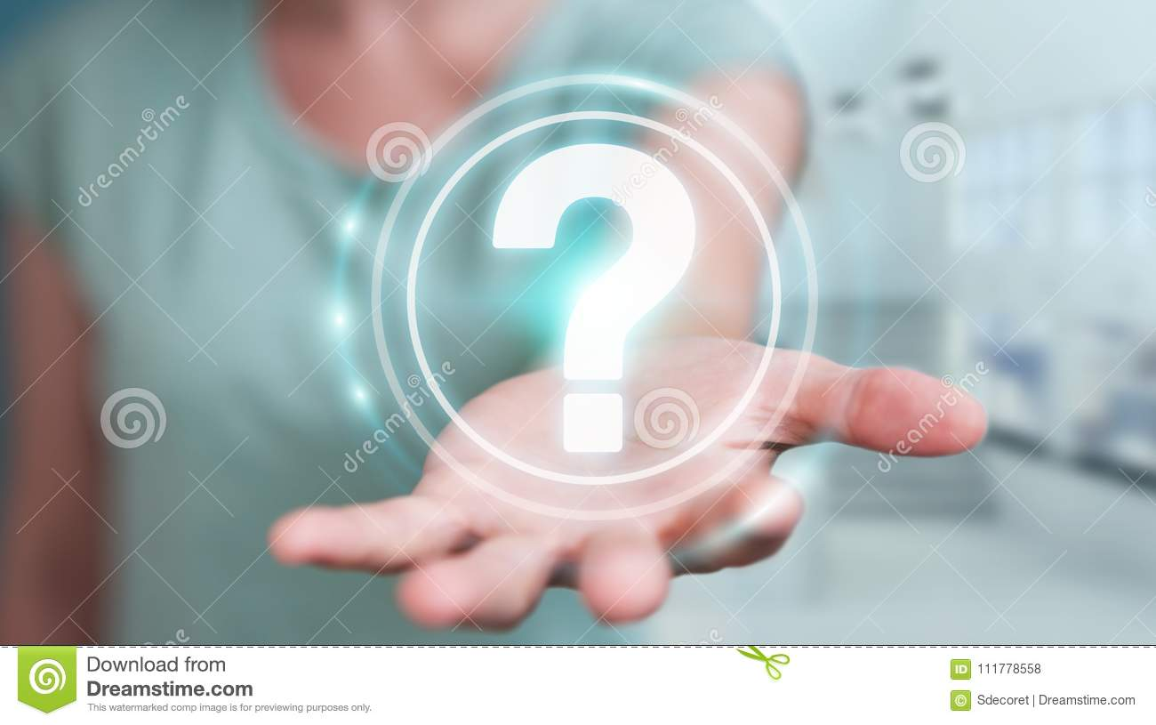 Businesswoman using question marks digital interface 3D rendering