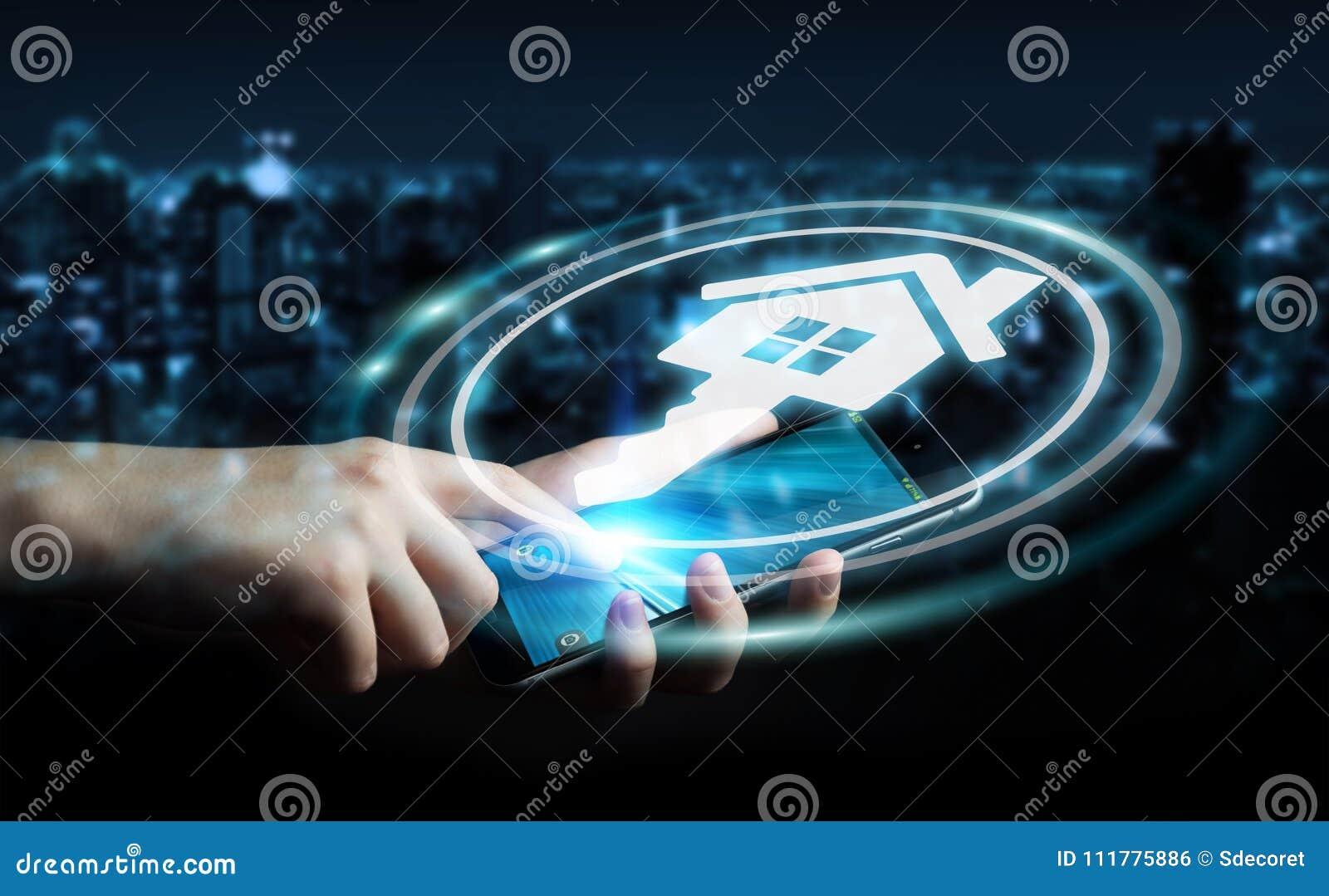 Businesswoman using real estate digital interface 3D rendering