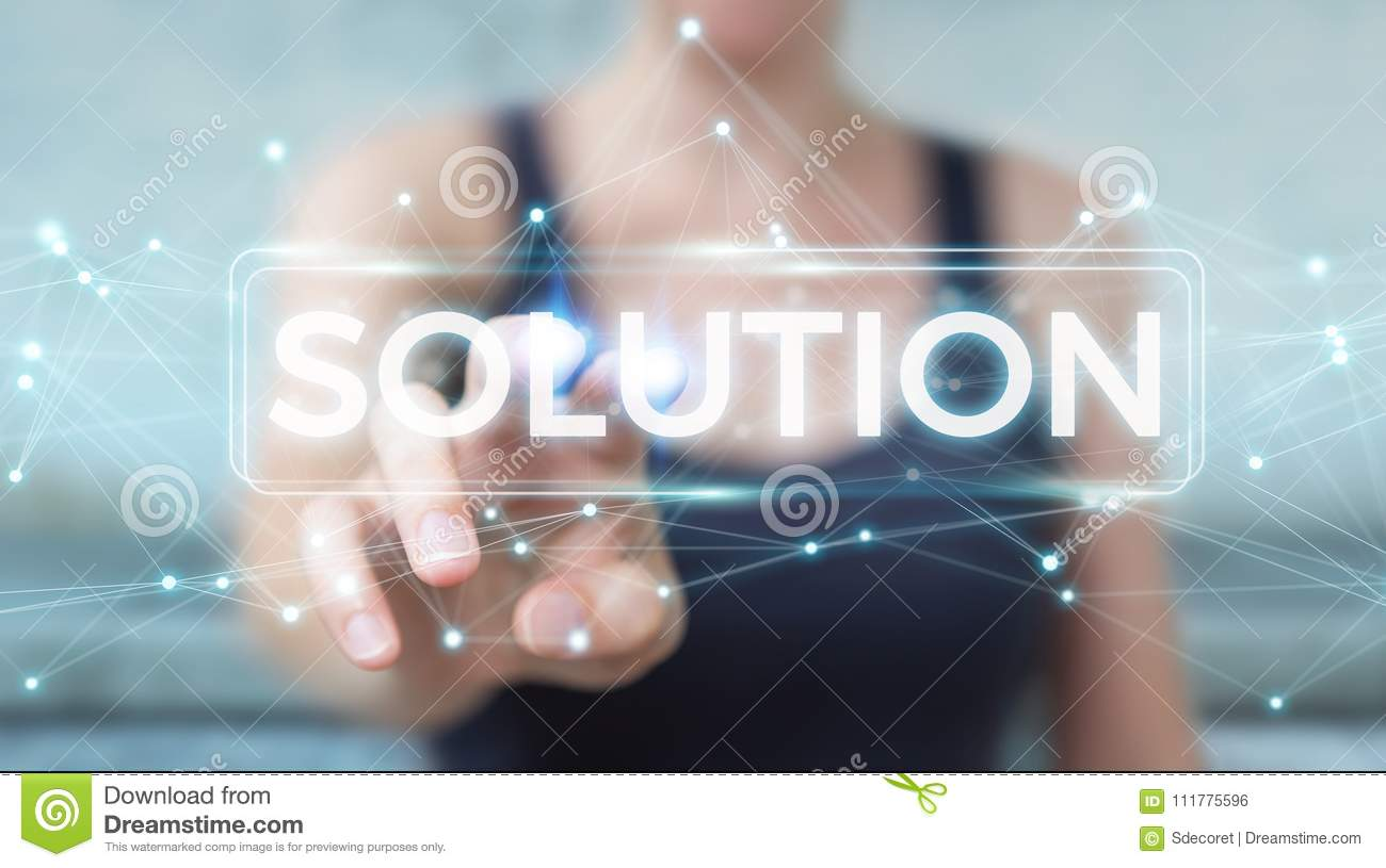 Businesswoman using solution digital text 3D rendering